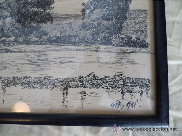 Arte: Antiguo cuadro al carbon de paisaje de un lago,año 1921 - Foto 2 - 46331971