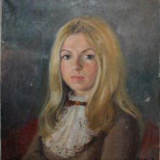 Arte: RAMON CORTÉS CASANOVAS (1906-1977) - RETRATO JOVEN DAMA - OLEO SOBRE TELA - 73.5 X 59.5 CM. Lote 46363797