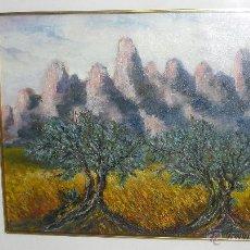 Arte: BONITO PAISAJE PINTURA AL OLEO, OLIVOS Y AL FONDO PARECEN LAS MONTAÑAS DE MONTSERRAT (BARCELONA). Lote 46395219