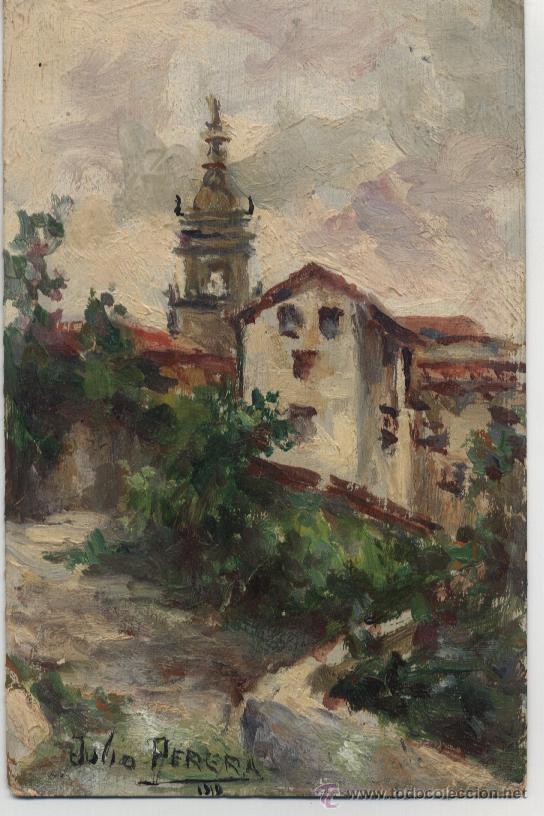 MINIATURA PAISAJE AL ÓLEO / FIRMA JULIO PERERA - 1919 (Arte - Pintura - Pintura al Óleo Contemporánea )