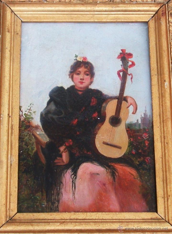 Mujer Con La Guitarra Siglo Xix Xx Comprar Pintura Al