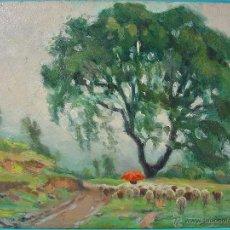 Arte: DÍA DE LLUVIA, REBAÑO. ÓLEO SOBRE CARTÓN. JOSEP OLIVET LEGARES. FIRMADO Y ENMARCADO.. Lote 46445675