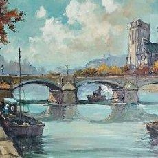 Arte: IMPRESIONANTE PINTURA ORIGINAL VINTAGE CON UNA VISTA DEL SENA (PARIS) FIRMA ILEGIBLE.. Lote 46507997