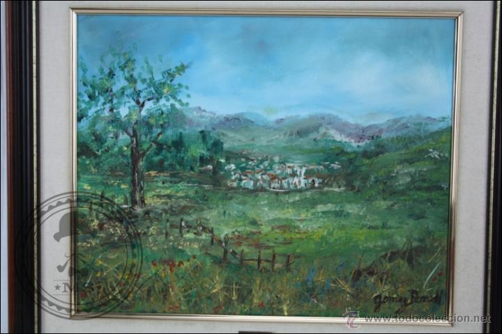 Arte: Pintura al Óleo sobre Lienzo - Firmado Gómez Borrell - Paisaje Campestre - Enmarcado - 54 x 46 Cm - Foto 2 - 46521027