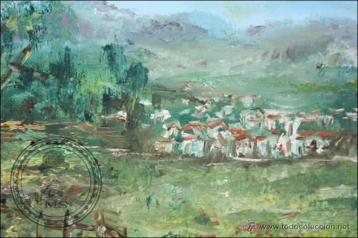 Arte: Pintura al Óleo sobre Lienzo - Firmado Gómez Borrell - Paisaje Campestre - Enmarcado - 54 x 46 Cm - Foto 5 - 46521027