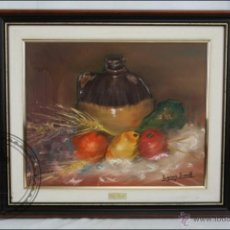 Arte: PINTURA AL ÓLEO SOBRE LIENZO - FIRMADO L. GÓMEZ BORRELL - BODEGÓN CON TRIGO - ENMARCADO - 54 X 46 CM. Lote 46521093
