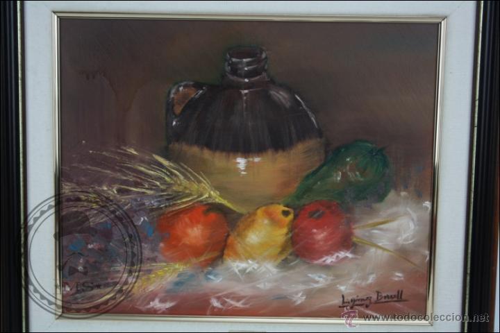 Arte: Pintura al Óleo sobre Lienzo - Firmado L. Gómez Borrell - Bodegón con Trigo - Enmarcado - 54 x 46 Cm - Foto 2 - 46521093