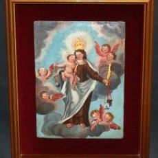 Arte: ESCUELA HISPANO-COLONIAL DEL ULTIMO TERCIO DEL SIGLO XVII. OLEO SOBRE TABLA. VIRGEN DEL CARMEN. Lote 46523839