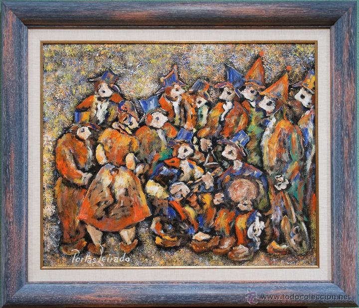 CONSTANTINO PORTAS LEIRADO: ÓLEO SOBRE LIENZO 'LA FIESTA DEL PAVO' (Arte - Pintura - Pintura al Óleo Contemporánea )