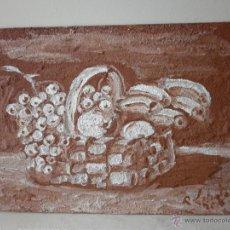 Arte: PINTURA SOBRE TABLA, CESTO DE FRUTAS FIRMADO P. LOBATO. Lote 46605281