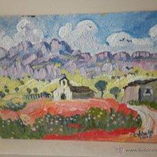 Arte: PINTURA SOBRE TABLA STA ANA FOSADO ALTO HUESCA FIRMADO P. LOBATO. Lote 46606514