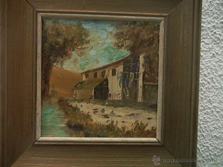 Arte: Paisaje pintura cuadro marco terracota - Foto 2 - 46661206