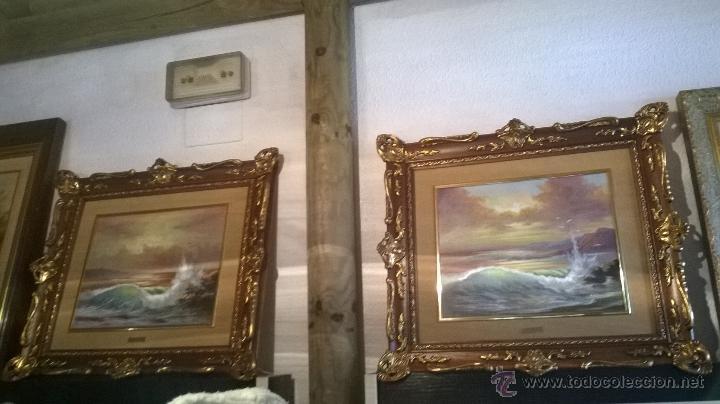 pareja de marinas al óleo con marcos de lujo - Comprar Pintura al ...