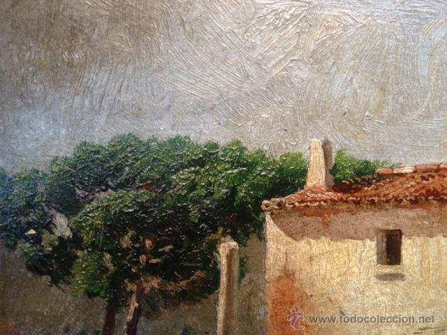 Arte: OLEO SOBRE CARTON, PAISAJE RURAL, FIRMADO EMILI CASALS I CAMPS , AÑOS 1910. 20X15CM - Foto 3 - 46978226