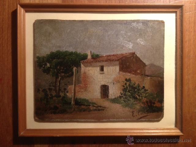 Arte: OLEO SOBRE CARTON, PAISAJE RURAL, FIRMADO EMILI CASALS I CAMPS , AÑOS 1910. 20X15CM - Foto 4 - 46978226