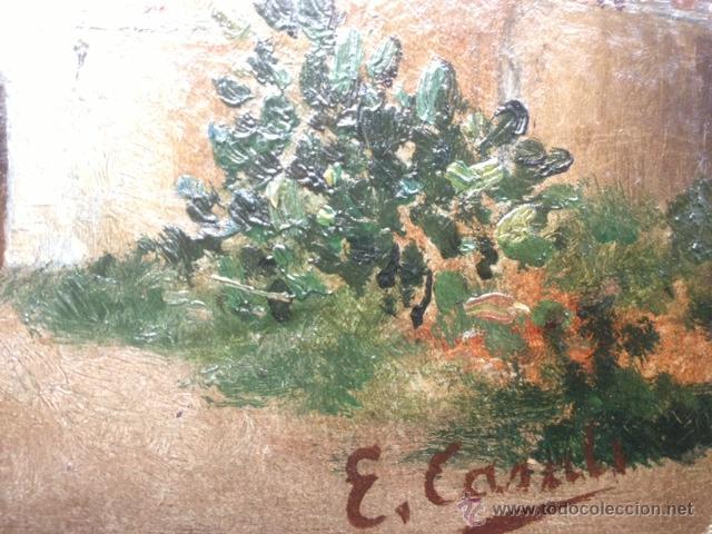 Arte: OLEO SOBRE CARTON, PAISAJE RURAL, FIRMADO EMILI CASALS I CAMPS , AÑOS 1910. 20X15CM - Foto 5 - 46978226