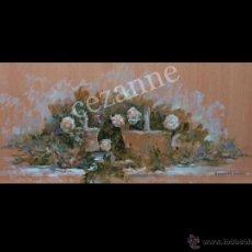 Arte: 'ROSAS BLANCAS ENTRE PARRAS' DOMINGO CORREA. ÓLEO SOBRE TABLA.. Lote 46992872