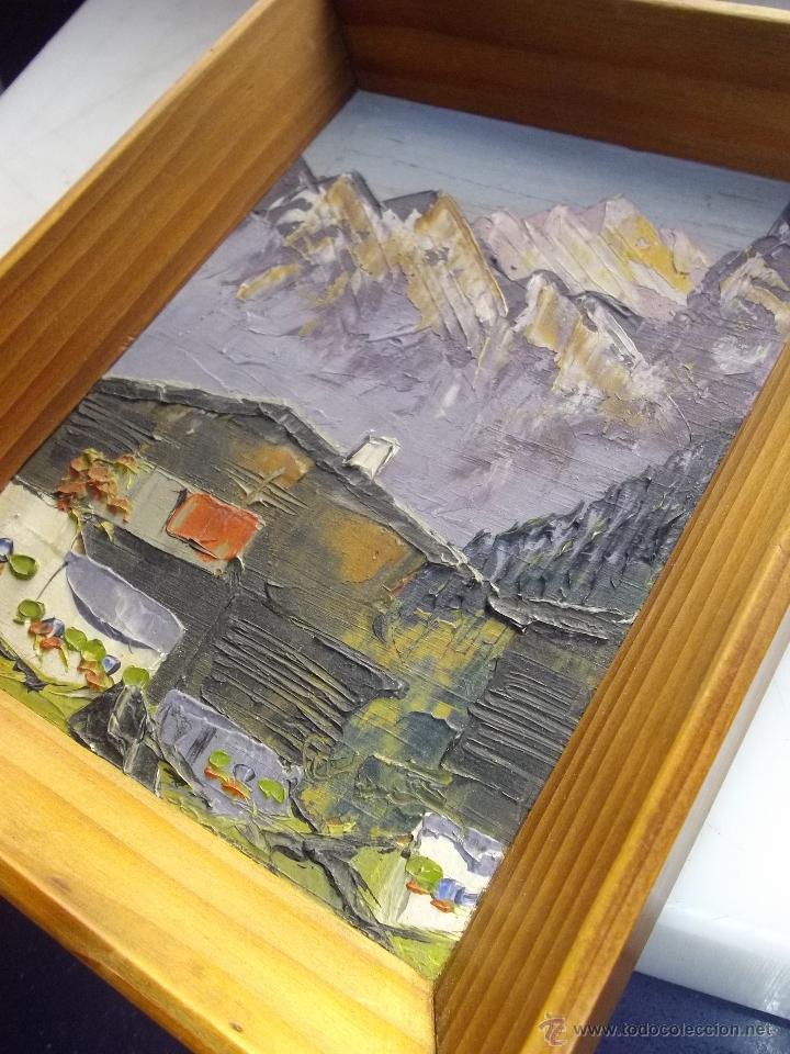 Arte: Precioso oleo paisaje tabla Francia años 40 enmarcado original paisaje montaña alta calidad - Foto 3 - 47029791