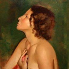 Arte: FRANCESC DOMINGO SEGURA (BARCELONA, 1895 - BRASIL, 1974) OLEO SOBRE TELA. DESNUDO DE PERFIL. Lote 47032970