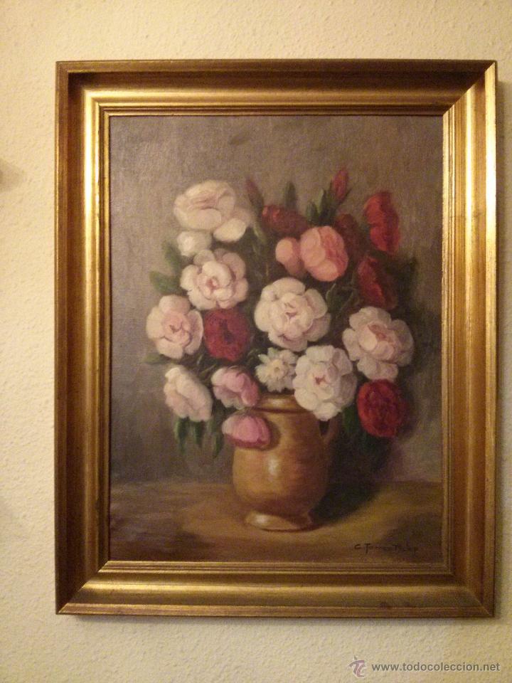 CUADRO DE FLORES, BODEGÓN FLORAL AÑOS 50-60 (Arte - Pintura - Pintura al Óleo Contemporánea )