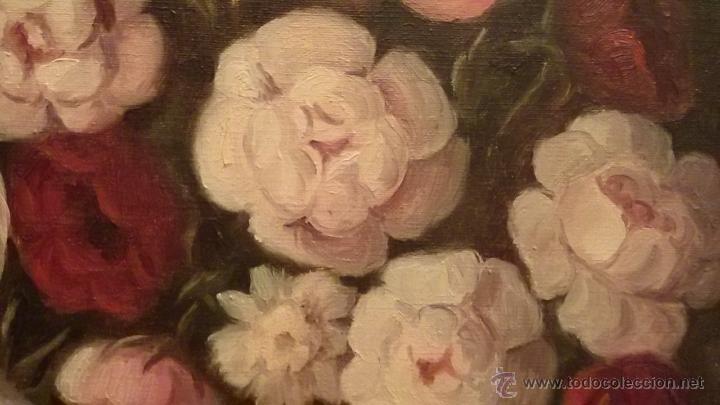 Arte: Cuadro de flores, bodegón floral años 50-60 - Foto 3 - 47068760