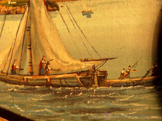 Arte: 3 miniaturas al óleo.Escuela veneciana, podria ser del xviii o anterior??gran calidad - Foto 6 - 120970326