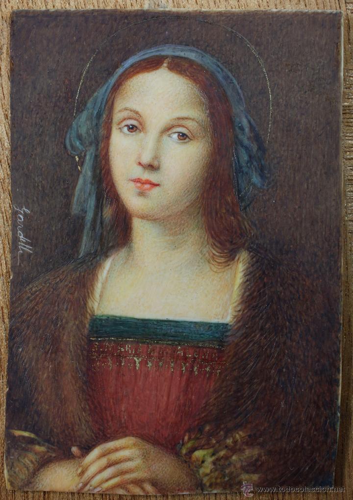 MINIATURA FIRMADA GARDELLI, SOBRE PLACA DE MARFIL SEGURAMENTE. S.XIX. 9X6,3 CM. MARCO: 12,5X15,5 CM. (Arte - Pintura - Pintura al Óleo Moderna sin fecha definida)