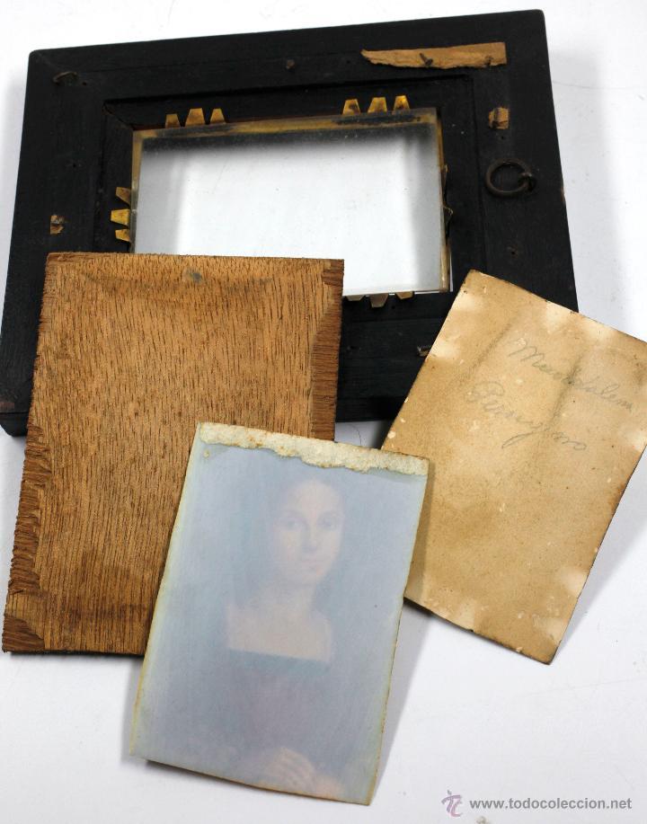 Arte: Miniatura firmada GARDELLI, sobre placa de marfil seguramente. S.XIX. 9x6,3 cm. Marco: 12,5x15,5 cm. - Foto 3 - 47279110