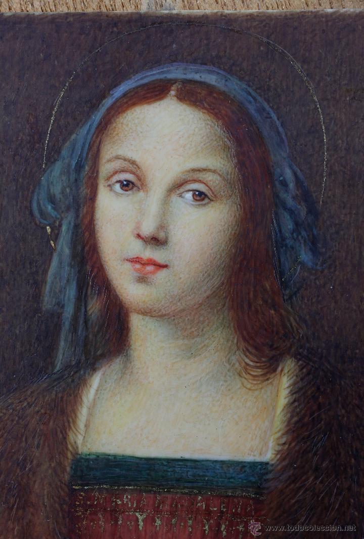 Arte: Miniatura firmada GARDELLI, sobre placa de marfil seguramente. S.XIX. 9x6,3 cm. Marco: 12,5x15,5 cm. - Foto 6 - 47279110