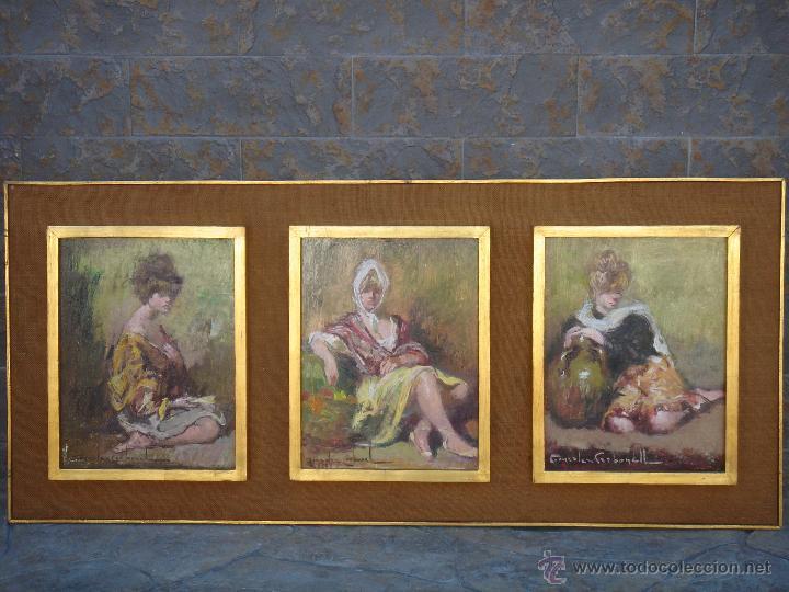 ÓLEO S/TABLA DE ROSENDO GONZÁLEZ CARBONELL -TRÍPTICO-, ENMARCADO. DIM.-115X51 CMS. (Arte - Pintura - Pintura al Óleo Moderna sin fecha definida)