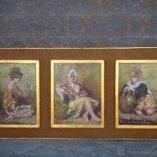Arte: ÓLEO S/TABLA DE ROSENDO GONZÁLEZ CARBONELL -TRÍPTICO-, ENMARCADO. DIM.-115X51 CMS.. Lote 47284493