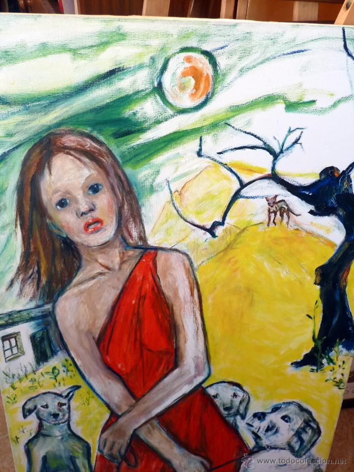 Arte: PRECIOSO OLEO VANGUARDISTA CHICA Y PERROS DE GRAN FUERZA EXPRESIVA, FIRMADO - Foto 3 - 47393726