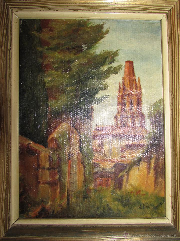 antiguo cuadro de paisaje al óleo enmarcado - Comprar Pintura al ...