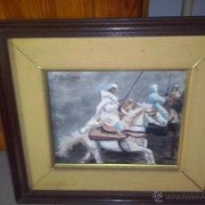 Kunst - Oleo.Arabes corriendo la polvora enmarcado y firmado. - 47515806