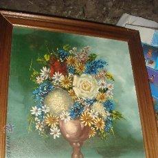 Arte: ANTIGUO CUADRO AL OLEO DE UN FLORERO DE LOS AÑOS 50. Lote 31232509