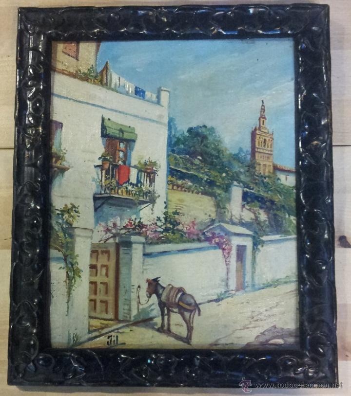 antigua pintura oleo sobre tela de sevilla firm - Comprar Pintura al ...