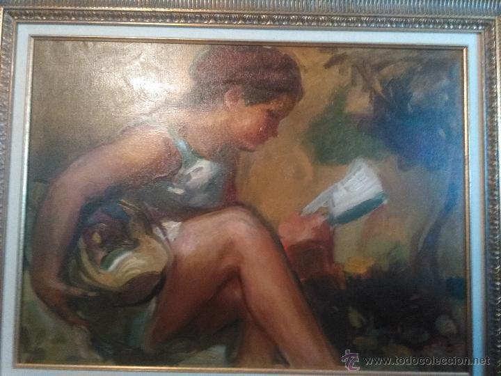 OLEO DE PORCAR J. BAUTISTA. NIÑA LEYENDO (Arte - Pintura - Pintura al Óleo Contemporánea )