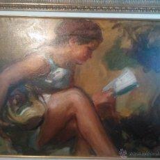 Arte: OLEO DE PORCAR J. BAUTISTA. NIÑA LEYENDO. Lote 47677088