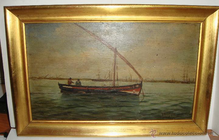 Arte: Oleo sobre Tabla de Caoba, Marina, S.XIX - Foto 3 - 34410412