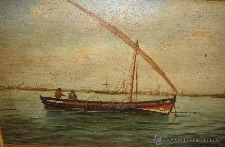 Arte: Oleo sobre Tabla de Caoba, Marina, S.XIX - Foto 4 - 34410412