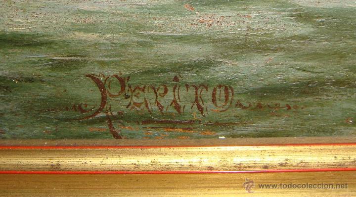 Arte: Oleo sobre Tabla de Caoba, Marina, S.XIX - Foto 5 - 34410412