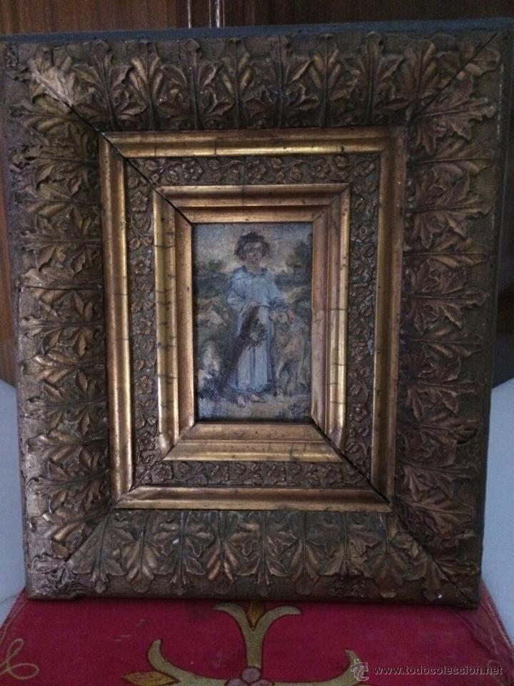 ÓLEO SAN JUANITO S.XVIII (Arte - Pintura - Pintura al Óleo Antigua siglo XVIII)