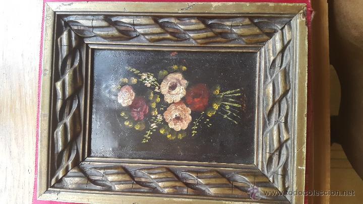 Arte: pareja cuadros óleo flores sobre plancha cobre S.XIX - Foto 2 - 47763644