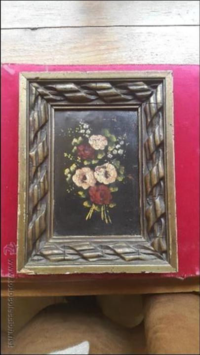 PAREJA CUADROS ÓLEO FLORES SOBRE PLANCHA COBRE S.XIX (Arte - Pintura - Pintura al Óleo Moderna siglo XIX)