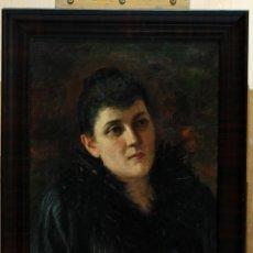 Arte: OLEO SOBRE LIENZO RETRATO DAMA ROMANA HACIA 1900 ITALIA. Lote 47815637