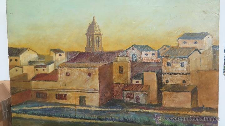Arte: INTERESANTE Y BONITO PAISAJE DE PUEBLO. OLEO SOBRE LIENZO. FIRMADO Y FECHADO - Foto 3 - 47833712