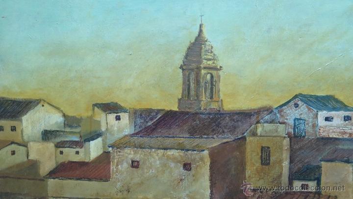 Arte: INTERESANTE Y BONITO PAISAJE DE PUEBLO. OLEO SOBRE LIENZO. FIRMADO Y FECHADO - Foto 5 - 47833712