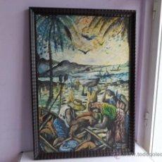 Arte: ANTIGUO Y BONITO CUADRO AL OLEO SOBRE LIENZO, FIRMADO ANGOLA-CUBA, IMPECABLE Y BUEN MARCO MADERA. Lote 47847552
