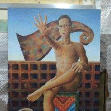 Arte: PINTURA CONTEMPORÁNEA FIGURATIVA ESCENA DE INTERIOR CON HOMBRE . Lote 47932189