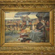 Arte - B3-044 - MERCADO. ÓLEO SOBRE TELA. FIRMA ILEGIBLE. ESPAÑA. XIX - 47952889